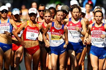 Olga Kaniskina leads the pack in the women's 20km race walk (Getty Images)