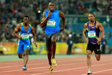 Usain Bolt on his way to a 9.86 win in the Daegu World Challenge meeting (Getty Images)