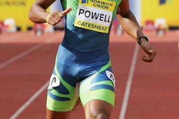 Asafa Powell on his way to 9.77 World record equalling run in Gateshead 100m (Getty Images)