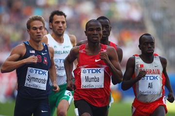 (L-R) Nick Symmonds of the United States, Prince Mumba of Zambia and Belal Mansoor Ali of Bahrain in the second of the men's 800m heats in Berlin (Getty Images)