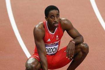 Jehue Gordon of Trinidad and Tobago reacts after the Men's 400m Hurdles final on Day 10 of the London 2012 Olympic Games at the Olympic Stadium on August 6, 2012 (Getty Images)