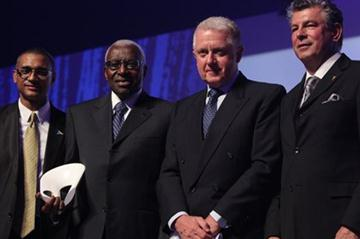 IAAF Kids' Athletics programme honoured in Monaco: (l to r) Olivier Laouchez, Lamine Diack, Pal Schmitt and Joel Bouzou at the 4th Peace and Sport Awards Ceremony  (Peace and Sport)