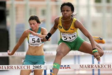 Natasha Ruddock of Jamaica in action in the Girls' 100m Hurdles semi-final (Getty Images)