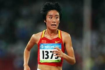 Bai Xue in the 2008 Olympic Games 10,000m final (Getty Images)