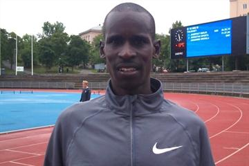 Josephat Kiprono Menjo after his world season 10,000m lead in Turku, Finland (Mirko Jalava)