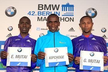 Emmanuel Mutai, Eliud Kipchoge and Geoffrey Mutai ahead of the Berlin Marathon (Victah Sailer / organisers)