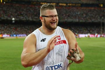 Pawel Fajdek celebrates winning the hammer at the IAAF World Championships, Beijing 2015 (Getty Images)