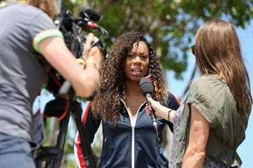 US sprinter Sanya Richards-Ross is interviewed by the media (Getty Images)