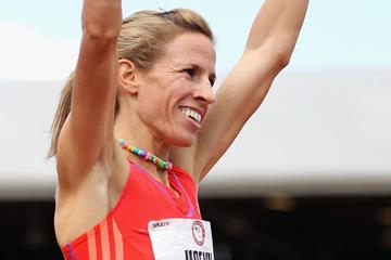 Morgan Uceny celebrates her victory at the 2012 US Trials (Getty Images)