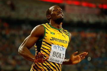 Usain Bolt after winning the 200m at the IAAF World Championships, Beijing 2015 (Getty Images)