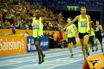 Jeremiah Mutai wins the 800m at the Indoor Grand Prix in Birmingham (Getty Images)