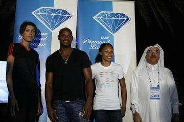 Blanka Vlasic, Asafa Powell, Allyson Felix and Doha meeting director Abdulla Ahmad Al-Zaini in Doha ahead of the 2010 edition of the meeting (Bob Ramsak)
