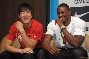 Liu Xiang and David Oliver relax in Eugene (Kirby Lee)