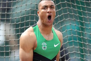 Ashton Eaton in the Decathlon Discus in Eugene (Getty Images)