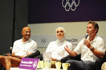 Namibian sprinter Frank Fredericks (left), with fellow Olympians Egyptian swimmer Rania Elwani and French cyclist Frederic Magne at Chat with Champions at the Youth Olympic Village in Singapore (SPH-SYOGOC/ Dominic Wong)