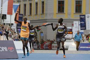 Winner Geoffrey Ronoh and Wilson Kipsang after the Mattoni Half Marathon in Olomouc (Organisers)