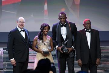 Shelly-Ann Fraser-Pryce and Usain Bolt, the 2013 IAAF World Athletes of the Year (Philippe Fitte)