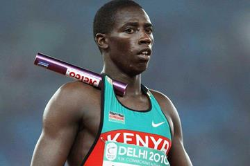 Simon Kimaru lines up for Kenya in the 4x100m at the 2010 Commonwealth Games (Getty Images)