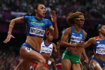 Elyzaveta Bryzgina of Ukraine, Evelyn Dos of Brazil and Marielis Sanchez of Dominican Republic run in the Women's 200m heat on Day 10 of the London 2012 Olympic Games on 6 August 2012 (Getty Images)