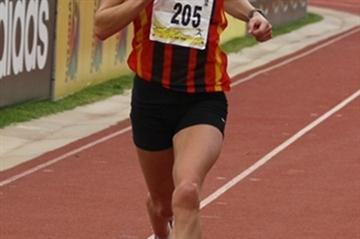 Irvette van Blerk on the way to the South African Half Marathon title (Mark Ouma)