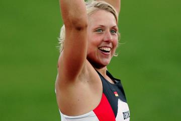 Christina Obergfoll of Germany celebrates winning a surprise silver in the Javelin at the 2005 World Championships (Getty Images)