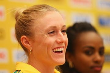 Sally Pearson at the press conference ahead of the IAAF World Indoor Championships in Sopot (Getty Images)