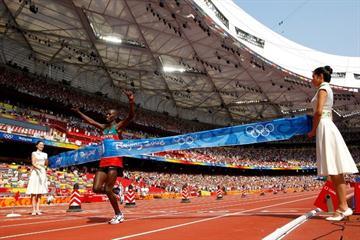 Samuel Wanjiru becomes the first Kenyan man to win an Olympic marathon title (Getty Images)