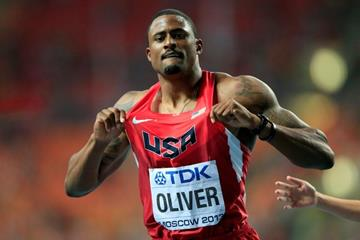 David Oliver in the mens 110m Hurdles Final at the IAAF World Athletics Championships Moscow 2013 (Getty Images)