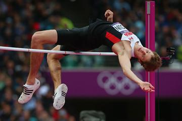 Derek Drouin of Canada competes in the Men's High Jump Final on Day 11 of the London 2012 Olympic Games at Olympic Stadium on August 7, 2012 (Getty Images)