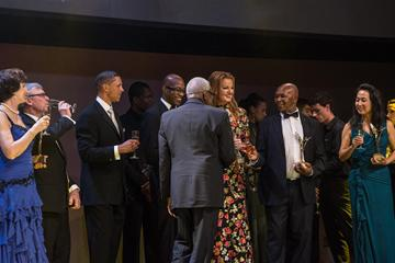 Inaugural IAAF Hall of Fame members and IAAF President Lamine Diack at the IAAF Centenary Gala in Barcelona (Philippe Fitte)