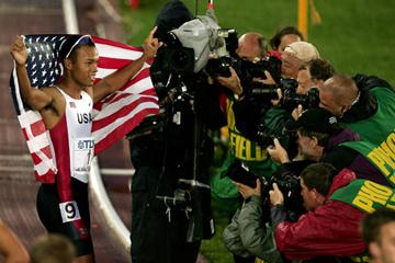 Bryan Clay of the US celebrates winning the Decathlon in Helsinki (Getty Images)
