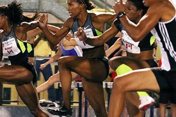 Nikkita Holder en route to her victory in Toronto (Claus Andersen (organisers) for the IAAF)