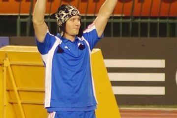 Andreas Thorkildsen with his lucky hat in Split (Jon Mulkeen)
