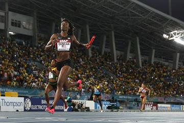 Kimberlyn Duncan of the United States crosses the finish line to win the women's 4x200m at the IAAF World Relays  (Getty Images)