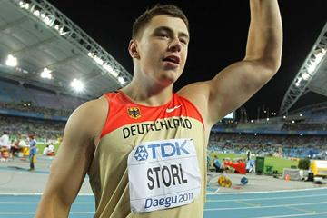 David Storl of Germany celebrates winning the men's shot put final  (Getty Images)