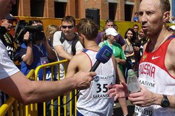 Winner of the 50km Race Walk in Saransk, Sergey Kidyapkin during the post event interviews (IAAF)