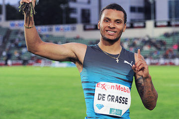 Andre De Grasse after winning the 100m at the IAAF Diamond League meeting in Oslo (Mark Shearman)