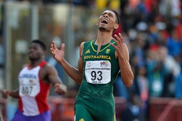 Wayde van Niekerk winning the African 200m title in Durban (Roger Sedres)