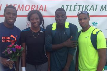 Andrew Riley, Shaunae Miller, Torrin Lawrence and Maurice Mitchell in Budapest, July 2014 (Juanita Bryan)