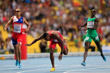 Michael Tinsley in the mens 400m Hurdles at the IAAF World Athletics Championships Moscow 2013 (Getty Images)