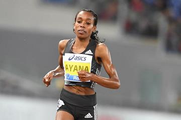 Almaz Ayana in the 5000m at the 2016 IAAF Diamond League meeting in Rome (Gladys Chai)
