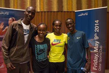 Asbel Kiprop, Mercy Cherono, Eunice Sum, Ezekiel Kemboi at the Doha 2014 IAAF Diamond League press points (Doha LOC)