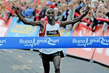 Joel Kimutai wins at the 2014 Bupa Great Birmingham Run (Mark Shearman)
