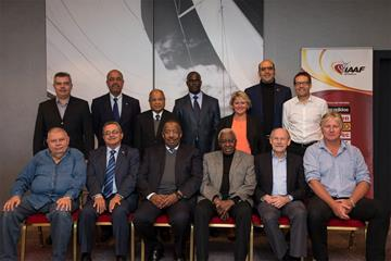 IAAF President Lamine Diack with the presidents and general secretaries of the six Area Associations (Philippe Fitte)