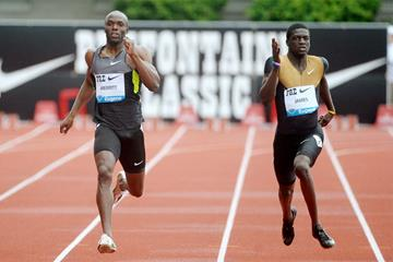 LaShawn Merritt and Kirani James in the 400m at the 2012 Pre Classic in Eugene (Kirby Lee)