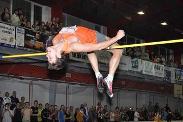 Ivan Ukhov sails clear at 2.37m in his 2010 debut in Hustopece (organisers)