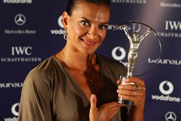 Yelena Isinbayeva with her second Laureus World Sportswoman of the Year Award (Getty Images)