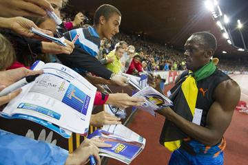 Usain Bolt meets his fans at the 2012 Diamond League meeting in Zurich (Weltklasse Zürich)