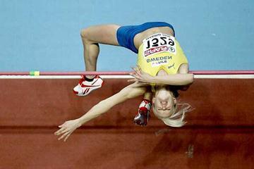 Carolina Klüft high jumping in Madrid (Getty Images)