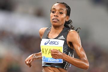 Almaz Ayana in the women's 5000m at the 2016 IAAF Diamond League meeting in Rome (Gladys Chai)